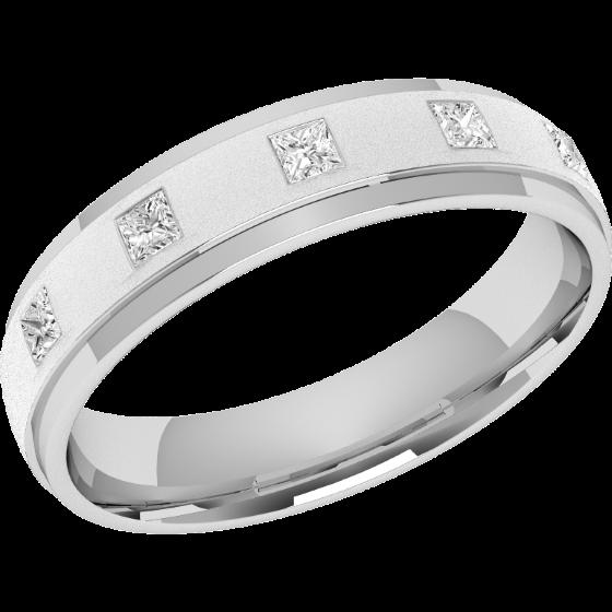 Ehering mit Diamanten für Dame in Platin mit 5 Princess Schliff Diamanten, Breite 4.5mm-img1