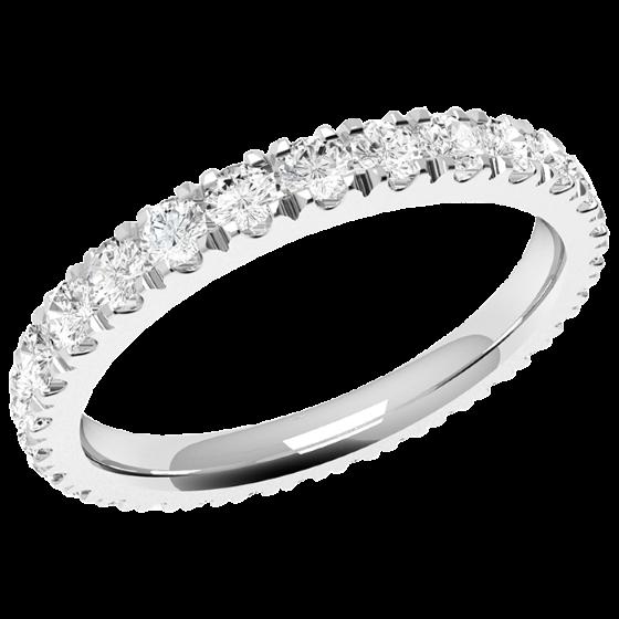 Voll Eternity Ring/Ehering mit Diamanten für Dame in 18kt Weißgold mit runden Brillant Schliff Diamanten die gehen ringsherum-img1