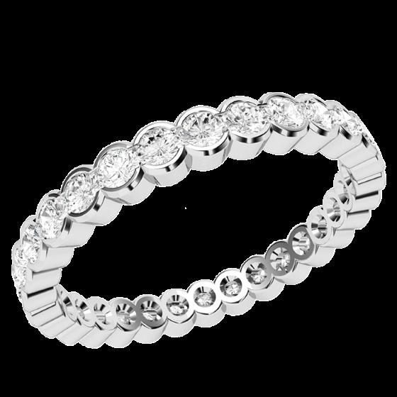 Verigheta cu Diamant/Inel Eternity Dama Aur Alb 18kt cu Diamante Rotund Briliant in Setare Rub Over De Jur Imprejur-img1