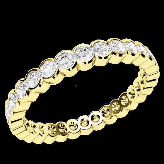 Voll Eternity Ring/Ehering mit Diamanten für Dame in 18kt Gelbgold mit runden Brillanten in Zargenfassung die gehen ringsherum-img1