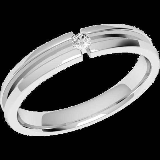 Ehering mit Diamanten für Dame in Platin mit einem runden Brillanten, bombiert, 3.5mm breit-img1