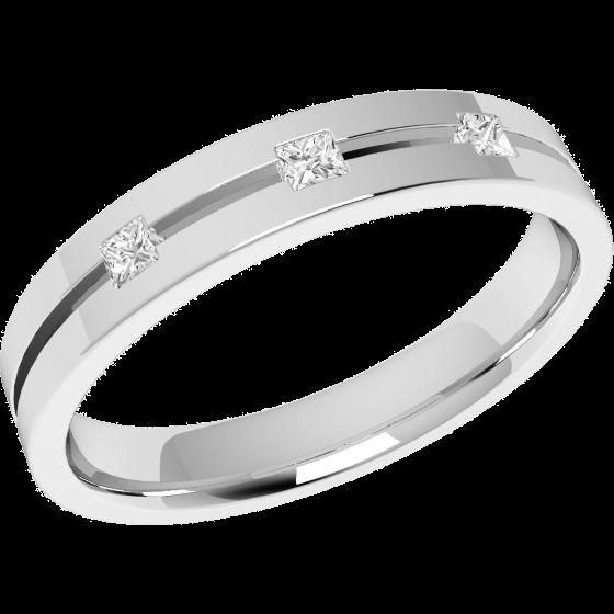 Ehering mit Diamanten für Dame in 18kt Weißgold mit drei Princess Schliff Diamanten, außen flach/innen bombiert, 3.5mm breit-img1