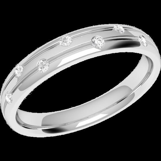 Ehering mit Diamanten für Dame in Platin mit 8 runden Brillanten, bombiert, 3.5mm breit-img1
