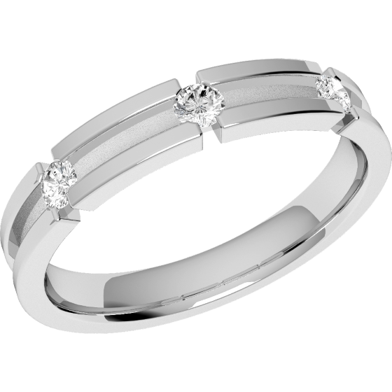 Ehering mit Diamanten für Dame in Platin mit 3 runden Brillanten, außen flach/innen bombiert, Breite 3.5mm-img1