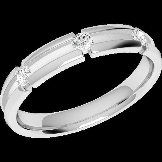 Ehering mit Diamanten für Dame in Palladium mit 3 Brillanten, bombiert, 3.5mm breit-img1