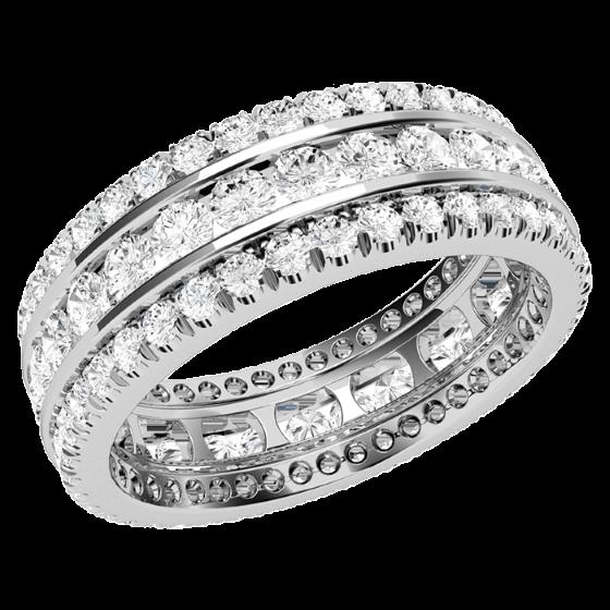 Inel Cocktail cu Diamante/Verigheta cu Diamant Dama Aur Alb 18kt cu Diamante Rotunde Briliant in Setare Gheare & Canal, Latime 6.25mm-img1