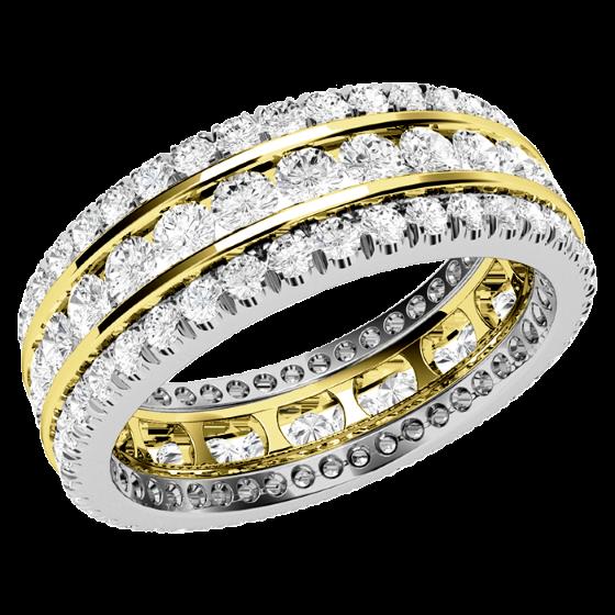 Voll Eternity Ring/Cocktail Ring/Trauring mit Diamanten für Dame in 18kt Gelbgold und Weißgold mit runden Brillanten in Krappenfassung, 6.25mm Breit-img1
