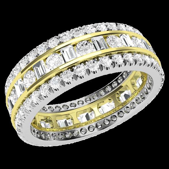 Voll Eternity Ring/Cocktail Ring/Trauring mit Diamanten für Dame in 18kt Gelb & Weißgold mit runden Brillant und Baguette Schliff Diamanten in Kanal & Krappenfassung-img1