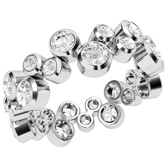 Verigheta cu Diamant/Inel Eternity Dama Aur Alb 18kt cu Diamante Rotunde in Setare Rub-Over, Latime 6.7mm-img1