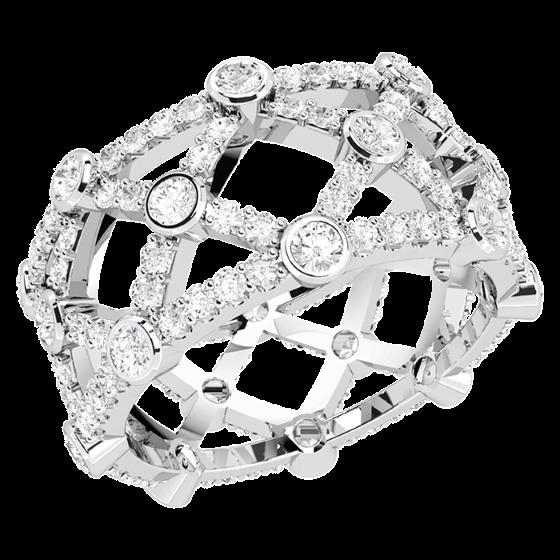 Voll Eternity Ring/Cocktail Ring/Ehering mit Diamanten für Dame in Platin mit runden Brillanten in Krappen&Zargenfassung, 10.75mm breit-img1