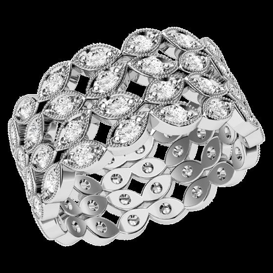 Inel/Verigheta cu Diamant Dama Aur Alb 18kt cu Diamante Rotund Briliant in 4 Randuri In Setare Pavata & Gheare Latime 9.5mm-img1