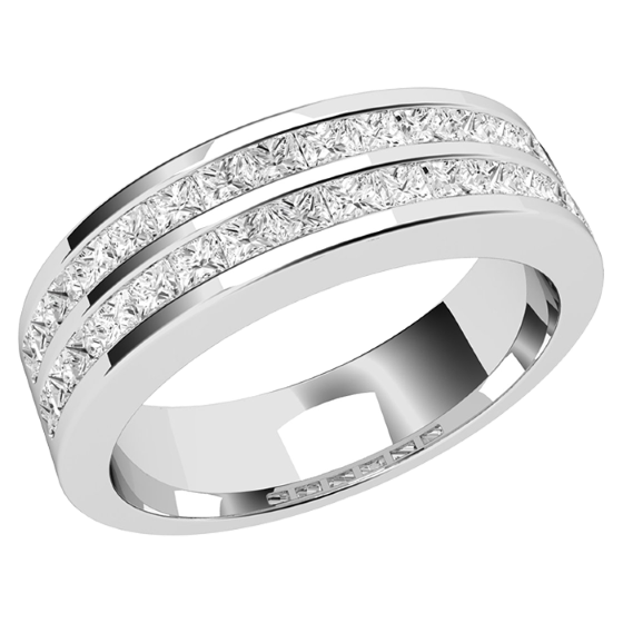 Halb Eternity Ring/Cocktail Ring/Ehering mit Diamanten für Dame in 18kt Weißgold mit Princess Schliff Diamanten in 2 Reihen, 5.2mm Breit-img1