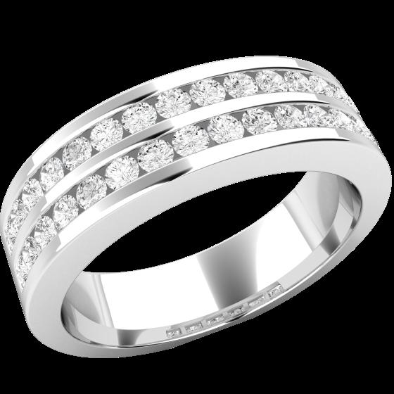 Halb Eternity Ring/Cocktail Ring/Ehering mit Diamanten für Dame in Platin mit runden Brillanten in Kanalfassung in 2 Reihen, 5mm Breit-img1
