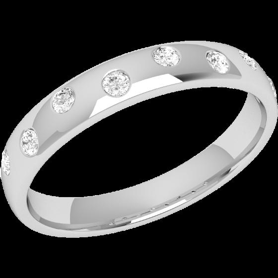 Ehering mit Diamanten für Dame in Palladium mit 8 Brillantschliff Diamanten, bombiert, 3.5mm breit-img1
