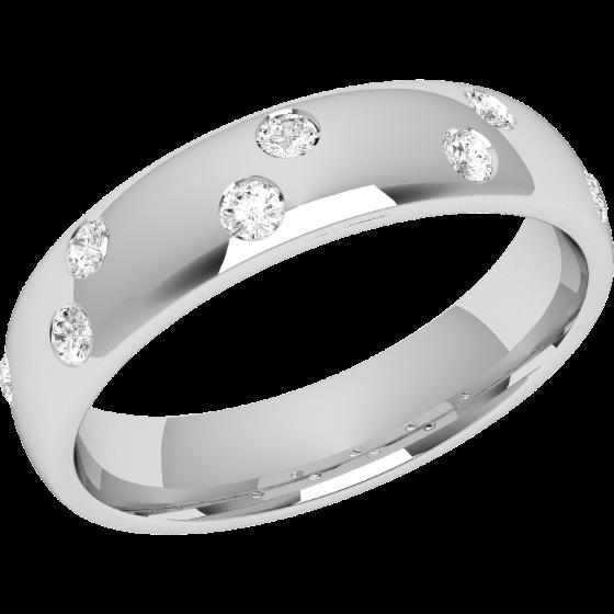 Ehering mit Diamanten für Dame in 18kt Weißgold mit 8 runden Brillanten, bombiertes Profil, 4.5mm breit-img1