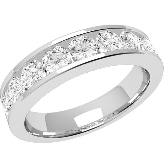 Half Eternity Ring Diamond Set Wedding For Women In Platinum With 9 Round Brilliant Cut Diamonds A Channel Setting Width 45mm