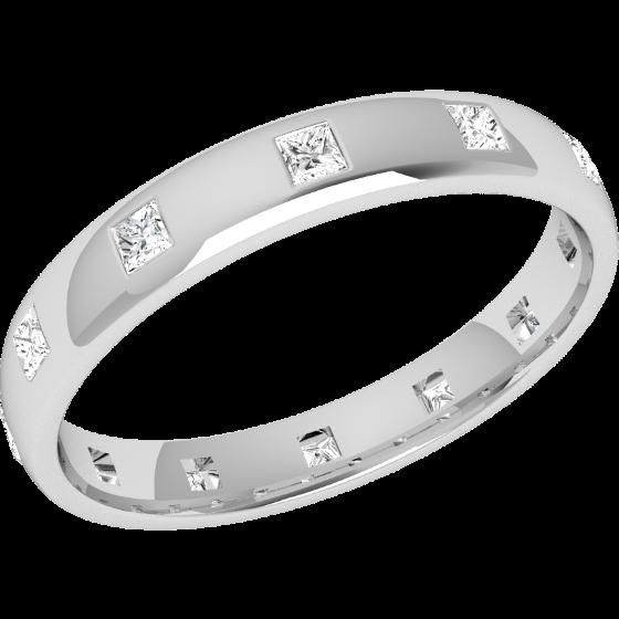 Ehering mit Diamanten für Dame in Platin mit 12 Princess Schliff Diamanten in Zargenfassung, die gehen ringsherum, bombiert, 3.5mm breit-img1