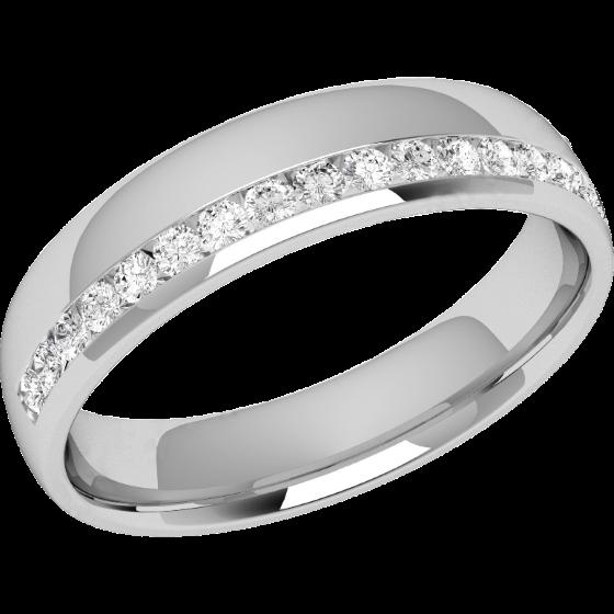 RDW153PL-Verigheta cu Diamant Dama Platina cu 17 Diamante Rotund Briliant Setate in Canal Profil Bombat Latime 4.25mm-img1