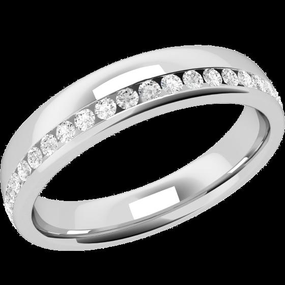 Ehering mit Diamanten für Dame in Platin mit runden Brillanten in Kanalfassung, die gehen ringsherum, bombiertes Profil, Breite 4.25mm-img1