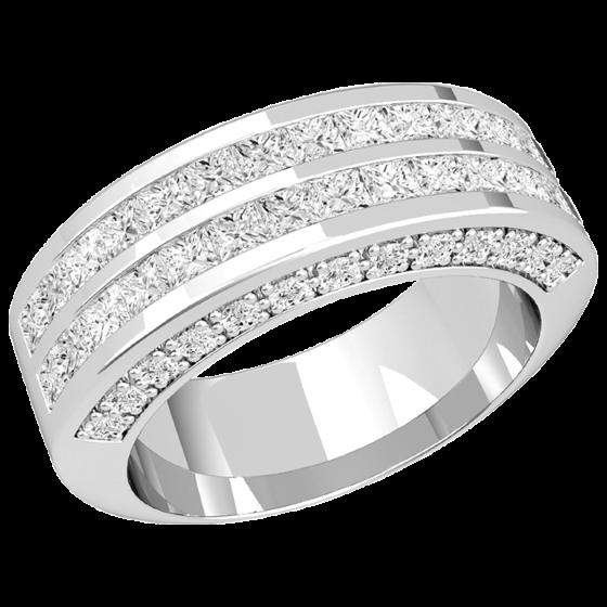 Cocktail Ring/Ehering mit Diamanten für Dame in Platin mit Princess Schliff Diamanten in 2 Reihen und runden Brillanten auf den Seiten-img1
