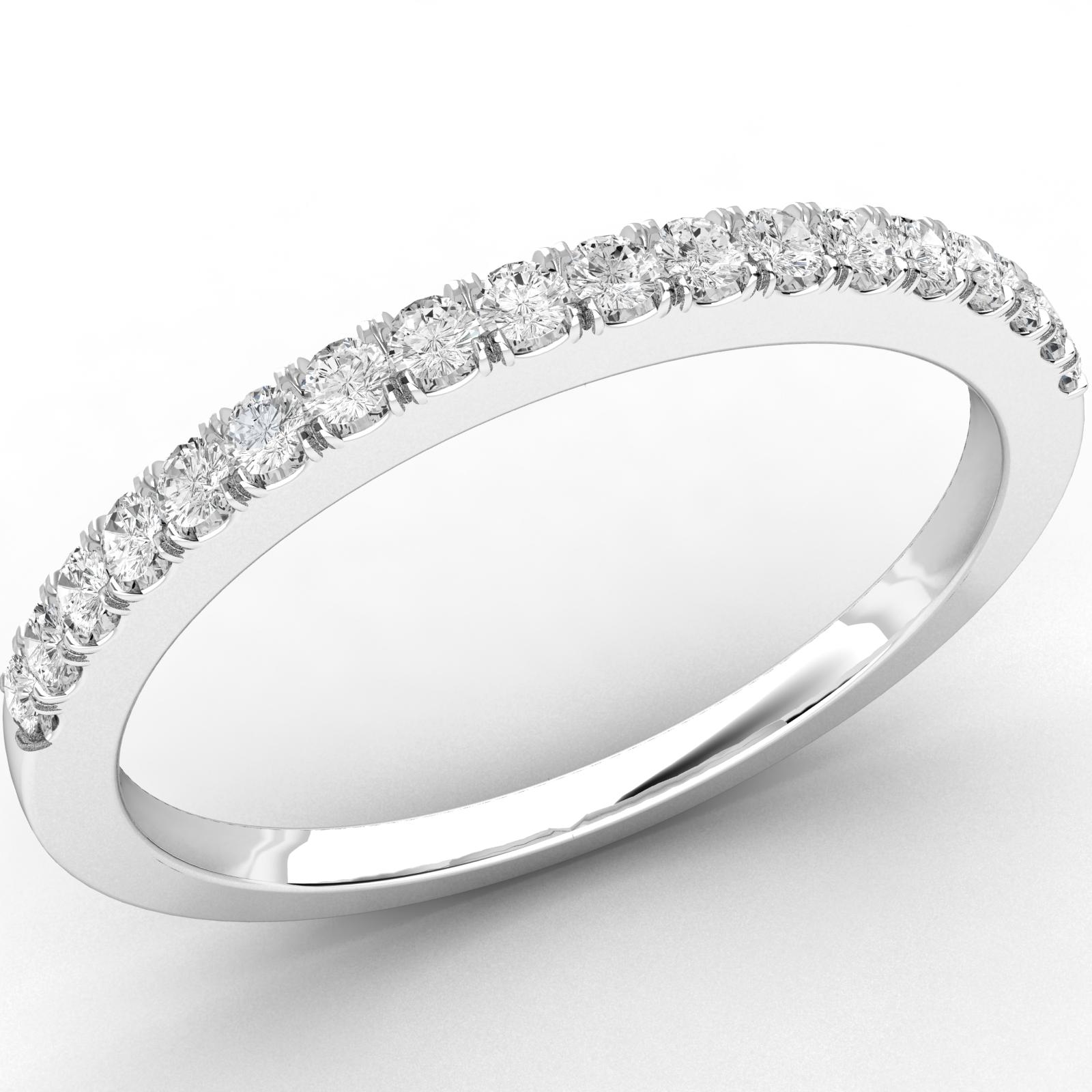 Verigheta cu Diamant/ Inel Eternity Dama Platina cu 18 Diamante Rotund Briliant in Setare Gheare, Latime 2mm-img1