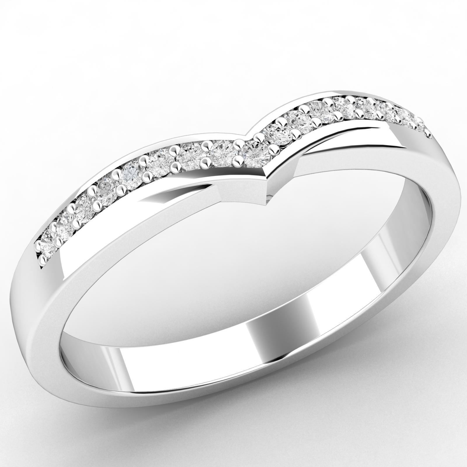 Verigheta cu Diamant/ Inel Eternity Dama Aur Alb 18kt cu 17 Diamante Rotund Briliant, Latime 2.5mm-img1