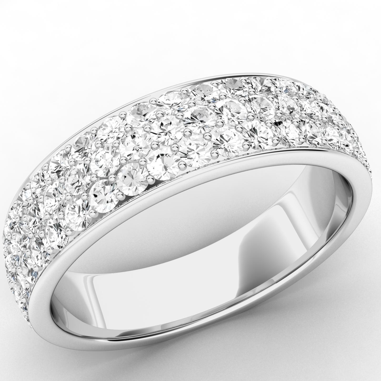 Verigheta cu Diamant/Inel Eternity Dama Platina cu 3 Randuri de Diamante Mici Rotund Briliant in Setare Gheare-img1