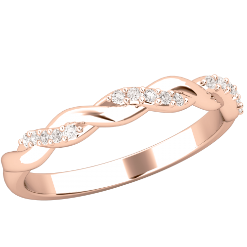 Verigheta cu Diamant/ Inel Eternity Dama Aur Roz 18kt cu Briliante Rotunde, Design Impletit-img1