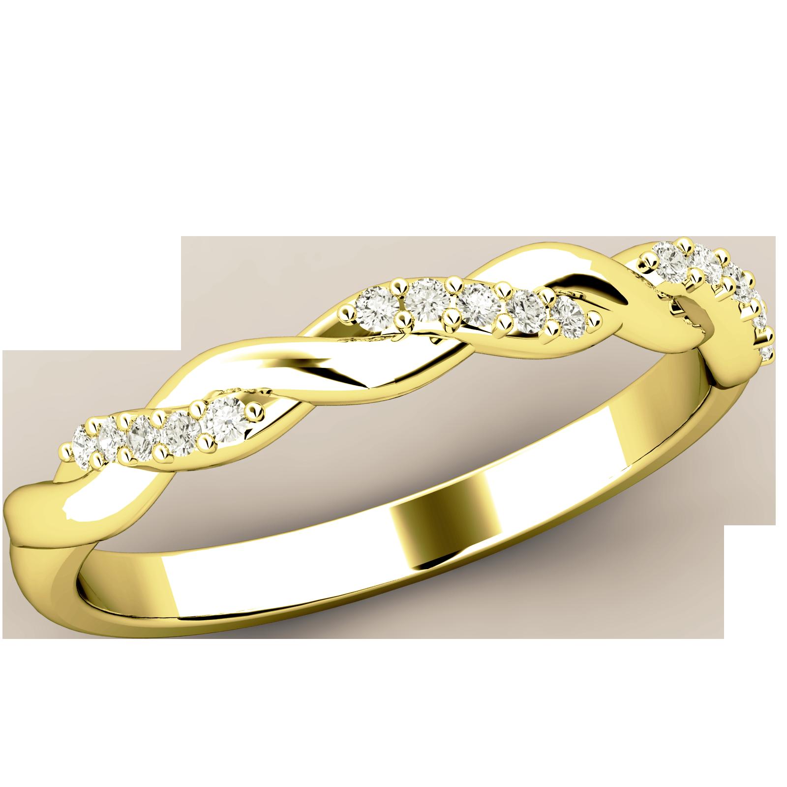 Halb Eternity Ring für Dame in 18kt Gelbgold mit Runden Brillanten und mit geflochtenem Banddesign-img1