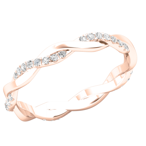 Verigheta cu Diamant/ Inel Eternity Dama Aur Roz 18kt cu 40 Diamante Rotunde, Design Impletit-img1