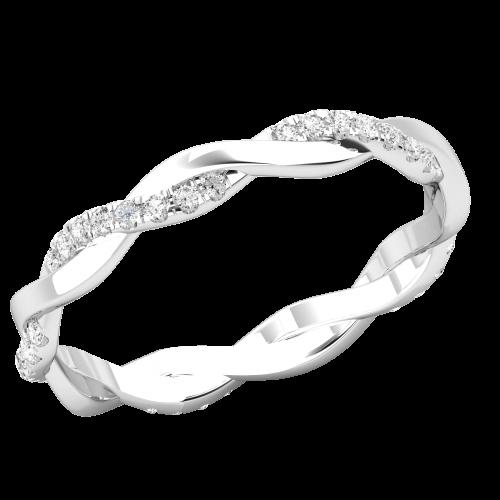Verigheta cu Diamant/ Inel Eternity Dama Aur Alb 18kt cu 40 Diamante Rotunde, Design Impletit-img1