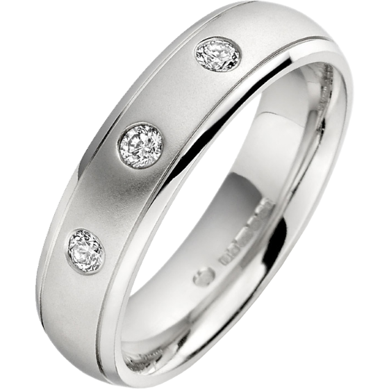 Diamond Ring Set Wedding For Men In Platinum With 3 Round Diamonds Court Profile