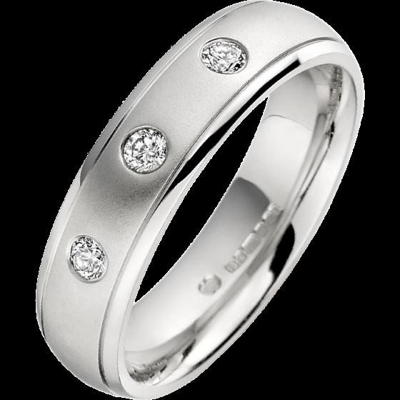 Diamond Ring/Diamond set Wedding Ring for Men in palladium with 3 round diamonds, court profile-img1