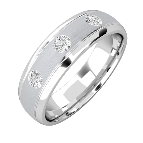 Diamond Ring Set Wedding For Men In 18ct White Gold With 3 Round Diamonds Court Profile