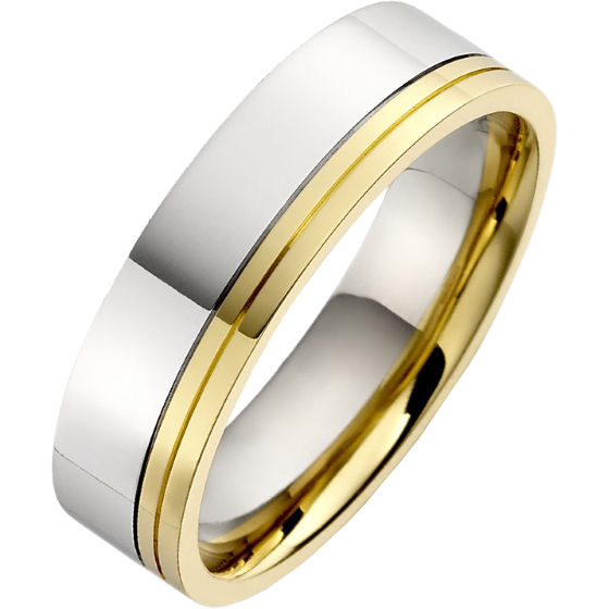 Plain Wedding Ring For Men In 18ct White And Yellow Gold