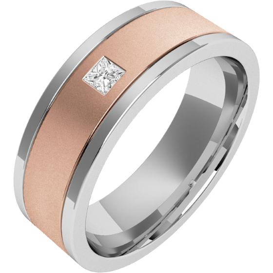 RDWG006RW -Verighetă bărbaţi aur roz şi aur alb 18kt exterior plat/ interior rotunjit, lăţime 6.25mm, cu un diamant princess-img1