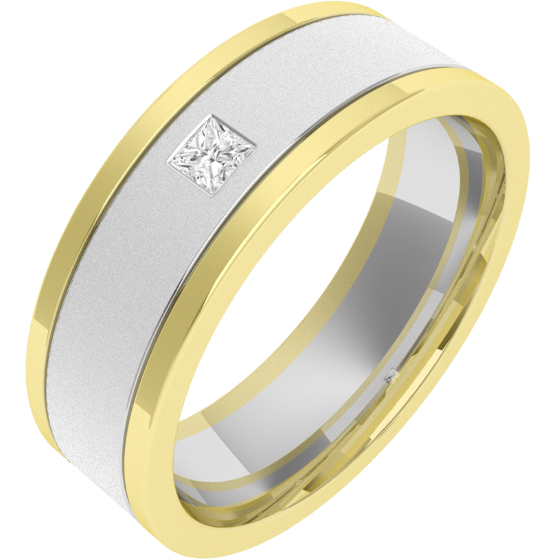 RDWG006WY - Verighetă bărbaţi aur alb şi aur galben 18kt exterior plat/ interior rotunjit, lăţime 6.25mm, cu un diamant princess-img1