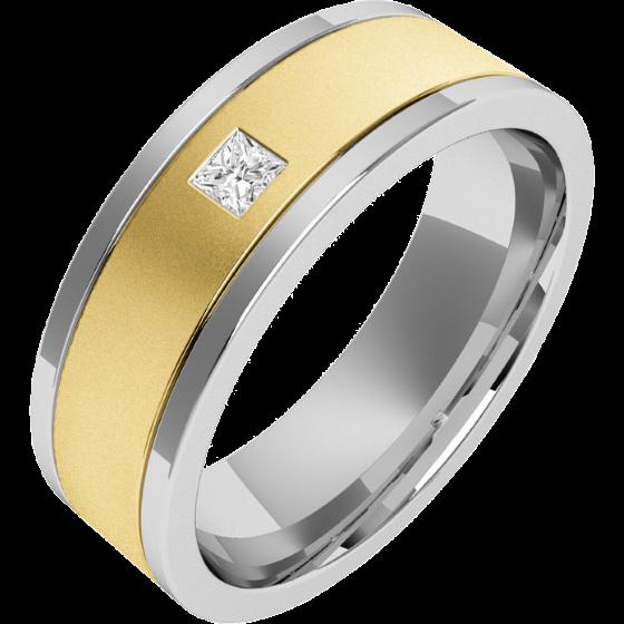 RDWG006YW - Verighetă bărbaţi aur galben şi aur alb 18kt exterior plat/ interior rotunjit, lăţime 6.25mm, cu un diamant princess-img1