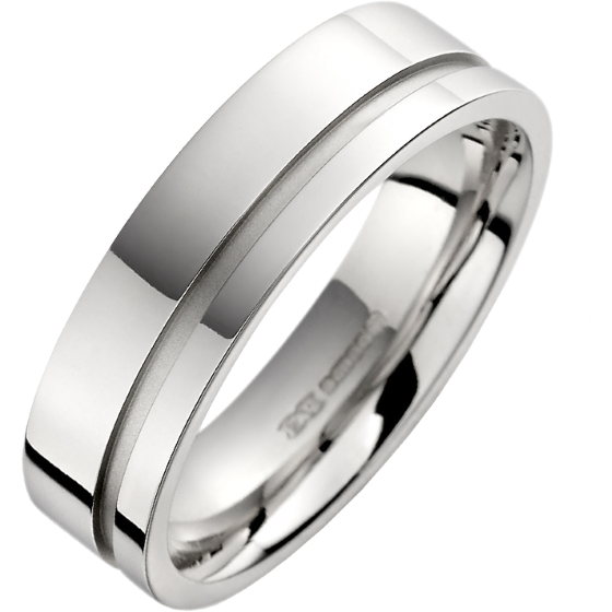 Plain Wedding Band For Men In 18ct White Gold With A Single Sandblasted Channel Flat Top Courted Inside