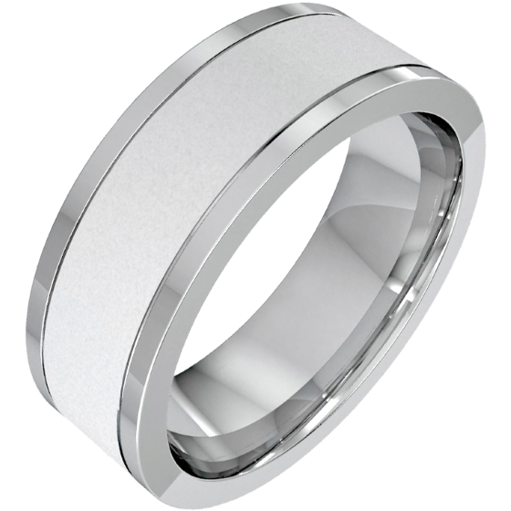 Plain Wedding Band For Men In Platinum With A Sandblasted Centre And Polished Edges Flat Top Courted Inside