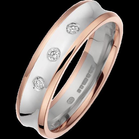 RDWG011WR - Verighetă bărbaţi aur alb şi aur roz 18kt, lăţime 5.25mm, profil concav, cu 3 diamante rotunde brilliant-img1