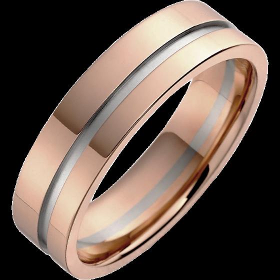 Einfacher Ehering für Mann in 18kt Weißgold und Roségold mit einem Kanal, Breite 5.75mm-img1