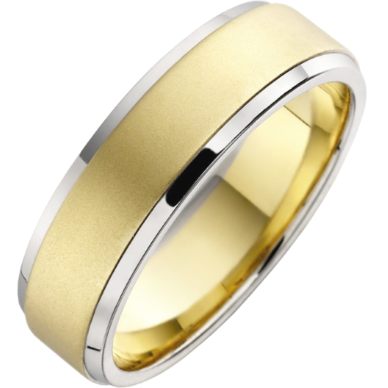 Plain Wedding Ring for Men in 18ct Yellow Gold Sandblasted with