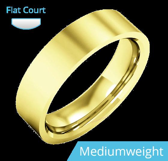 Einfacher Ehering für Mann in 9kt Gelbgold, poliert, außen flach/innen bombiert, Mittelgewicht-img1
