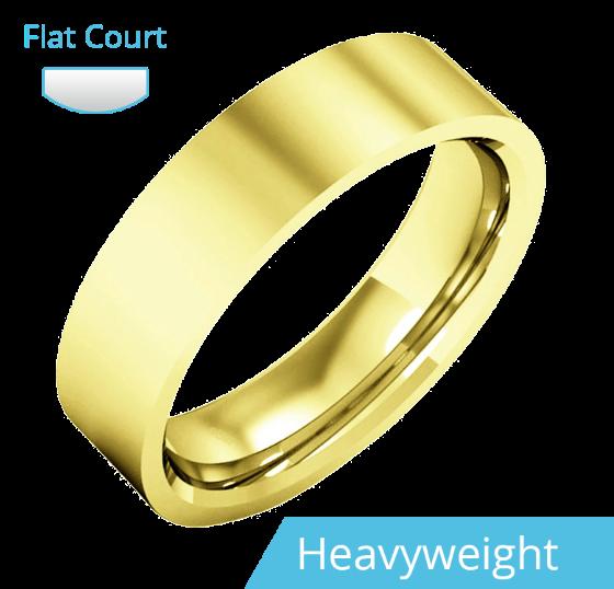 Einfacher Ehering für Mann in 9kt Gelbgold, poliert, außen flach/innen bombiert, Schwergewicht-img1