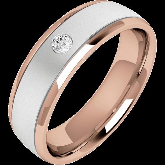 Verigheta/Inel cu Diamant Barbat Aur Alb si Aur Roz 18kt cu un Diamant Rotund Briliant, Profil Bombat, Latime 6.25mm-img1
