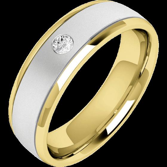Verigheta/Inel cu Diamant Barbat Aur Alb si Aur Galben 18kt cu un Diamant Rotund Briliant, Profil Bombat, Latime 6.25mm-img1