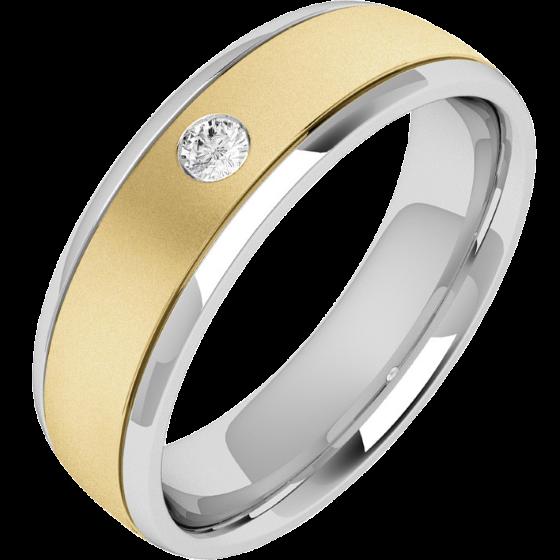 RDWG028YW- Verighetă bărbaţi din aur galben şi alb 18kt, lăţime 6.26mm, profil bombat, cu un diamant rotund brilliant-img1