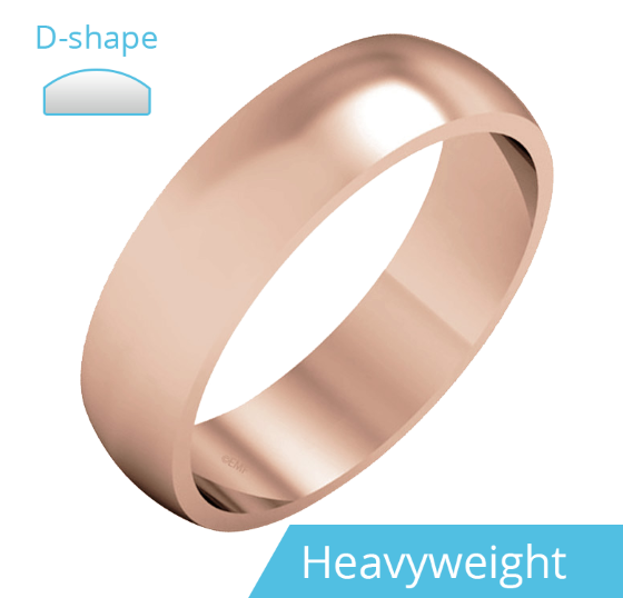 Einfacher Ehering für Mann in 9kt Roségold, poliert, D-förmiges Profil, Schwergewicht-img1