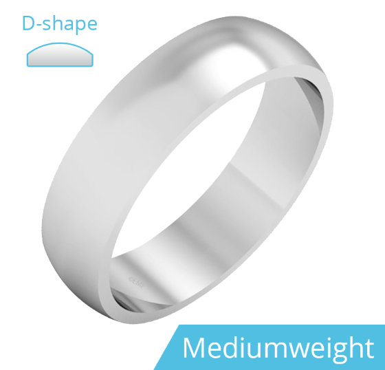 Einfacher Ehering für Mann in 9kt Weißgold, poliert, D-förmiges Profil, Mittelgewicht-img1